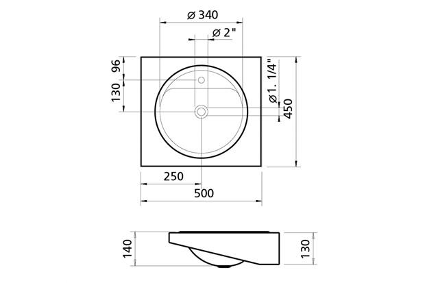 Lavabo de Parede Acetinado 14x50cm - Tramontina