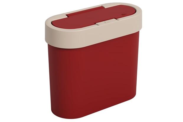 Lixeira Automática Flat 2,8 Litros Light Gray E Vermelho Bold - Coza