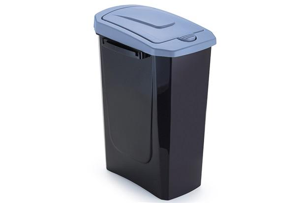 Lixeira com Tampa Ecofácil 15 Litros Preta E Azul - Arthi