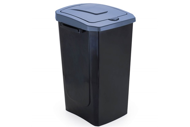Lixeira com Tampa Ecofácil 30 Litros Preta E Azul - Arthi