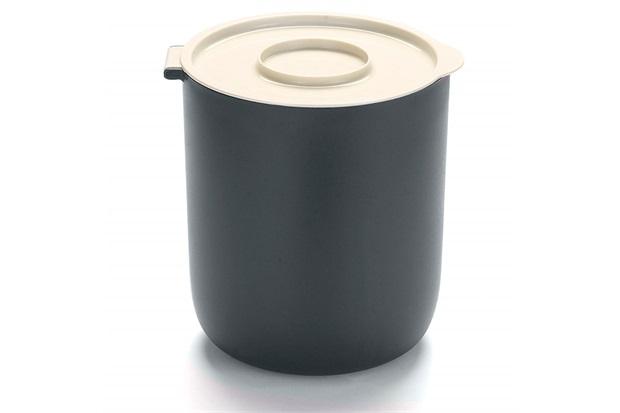 Lixeira em Plástico com Aramado 3,5 Litros Off White E Preta - Arthi