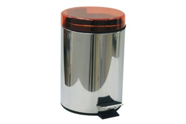 Lixeira Inox com Pedal 3 Litros Tampa Laranja - Importado