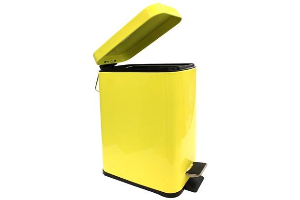 Lixeira Retangular com Pedal 5 Litros Amarela - Casanova