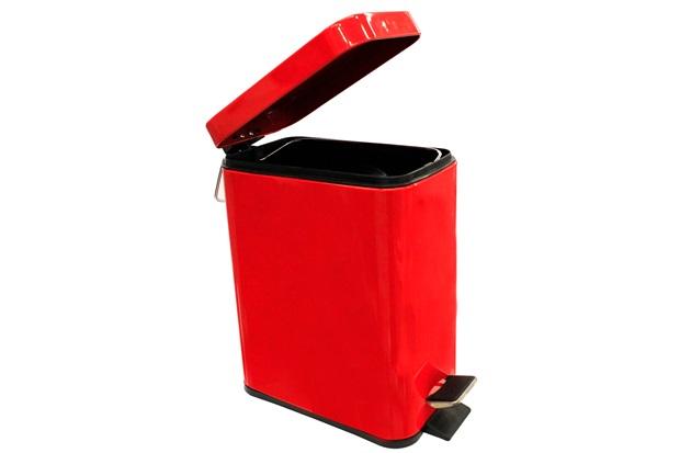 Lixeira Retangular com Pedal 5 Litros Vermelha - Casanova