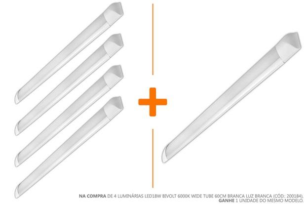 Luminária Led18w Bivolt 6000k Wide Tube 60cm Branca Luz Branca - Empalux