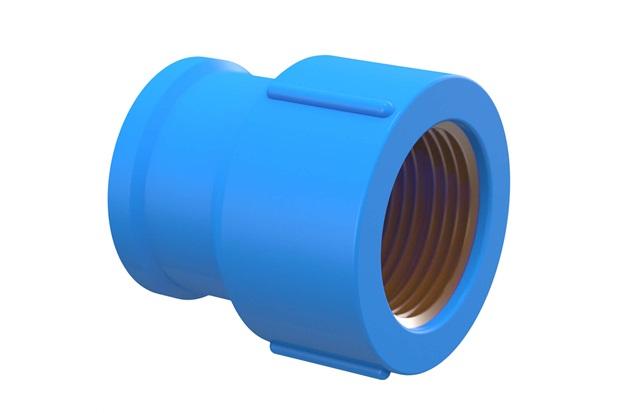 "Luva Azul com Bucha de Latão 25mm X 3/4"" - Tigre"