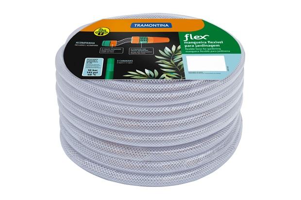 Mangueira com Engate Rosqueado E Esguicho Flex Transparente 1/2'' de 15 Metros - Tramontina