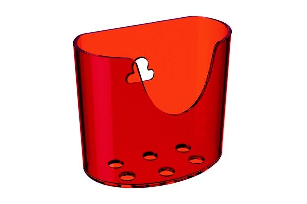 Mini Organizador com Ventosa Glass 10,4x5,6cm Vermelho - Coza