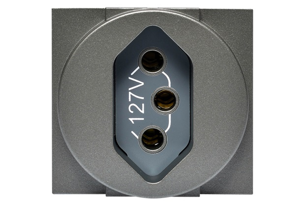 Módulo de Tomada 2p+T 20a Redondo Cinza 127v - Pial Legrand