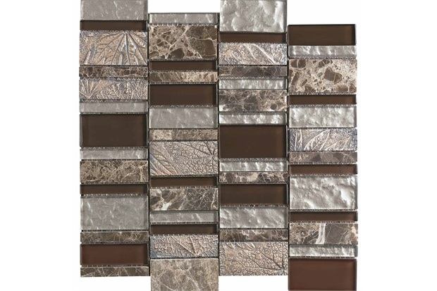 Mosaico Borda Reta Glazed Stone Gold Marrom 30x30cm - Incepa