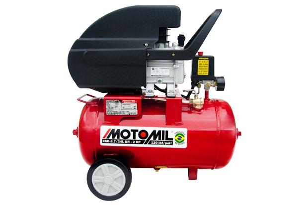 Motocompressor de Ar com Rodas Monofásico 120lbf Bivolt Vermelho - Motomil