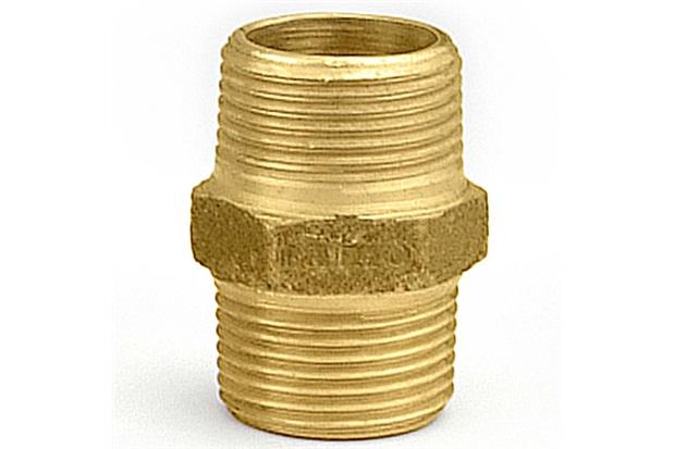 """Níple em Latão Duplo 3/4"""" Dourado - Ramo Conexões"""