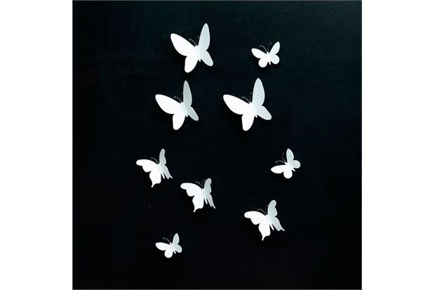 Painel Decorativo Butterfly 26x13cm Branco - Casa Etna