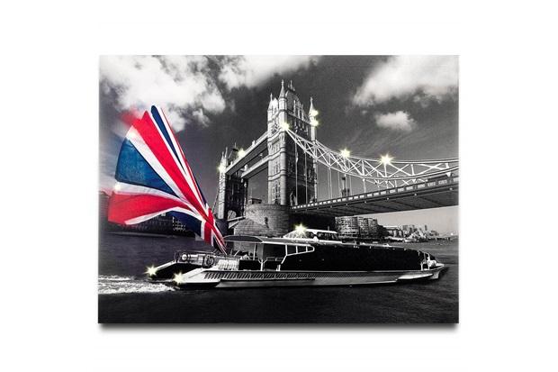Painel Led Canvas Reino Unido 80x60cm Preto - Casa Etna