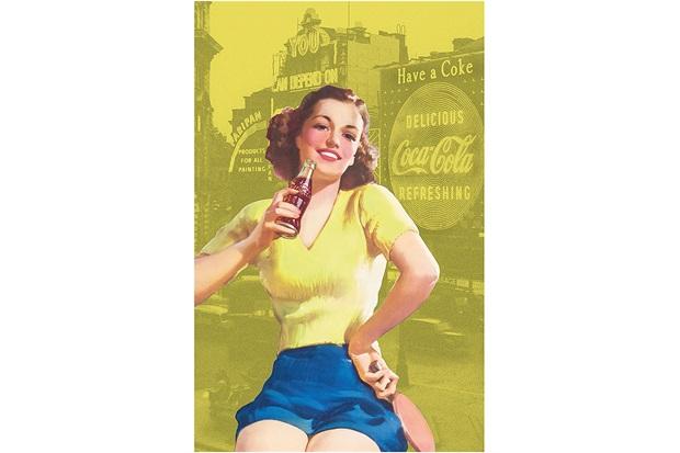 Pano de Prato em Algodão Coca-Cola Pin Up Brown Lady - Urban