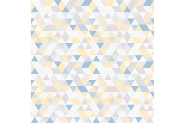 Papel de Parede 7448 Amarelo E Azul 52cm com 10 Metros - Bobinex