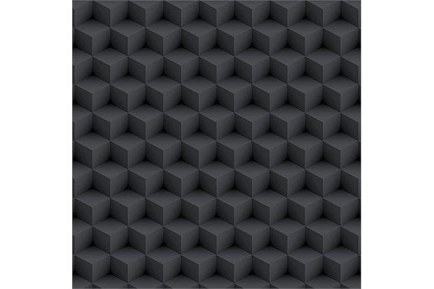 Papel de Parede Geométrico Preto 52cm com 10 Metros - Bobinex