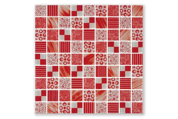 Pastilha Borda Bold Patchwork Vermelho 30x30cm - Henry