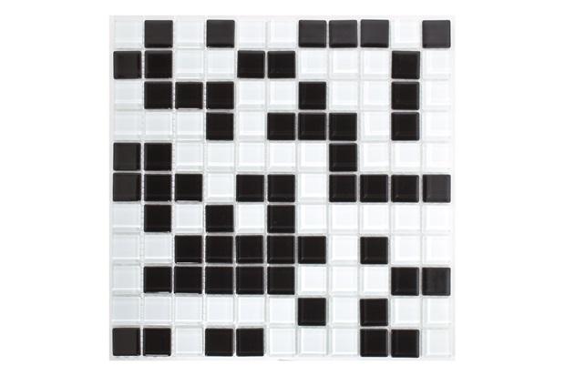 Pastilha de Vidro Mescla Preta E Branca 30x30cm - Casanova