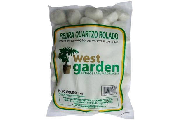 Pedra Quartzo Rolado 5kg - West Garden
