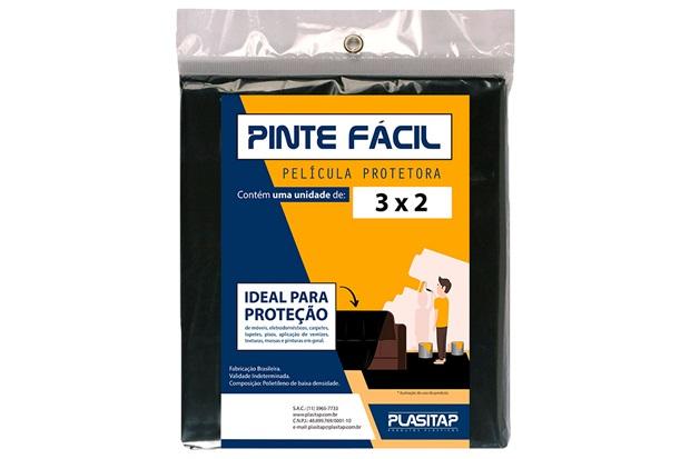 Película Protetora Pinte Fácil 3x2m Preta - Plasitap