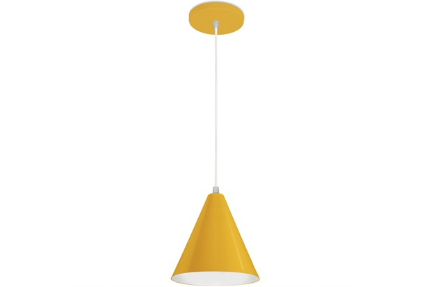Pendente em Alumínio para 1 Lâmpada Cone Minas Gerais 18x18cm Amarelo - Nacional Iluminação