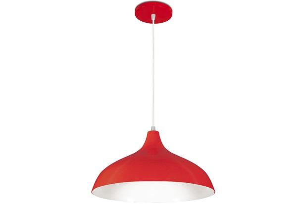 Pendente em Alumínio para 1 Lâmpada Pera Minas Gerais 33x18cm Vermelho - Nacional Iluminação