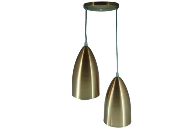 Pendente em Alumínio para 2 Lâmpadas Cobreado - Lustres Jordano