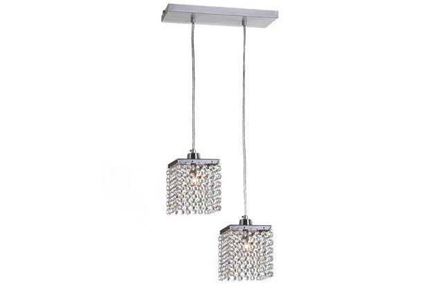 Pendente em Alumínio para 2 Lâmpadas Córdoba 88x30cm Cromado - Auremar