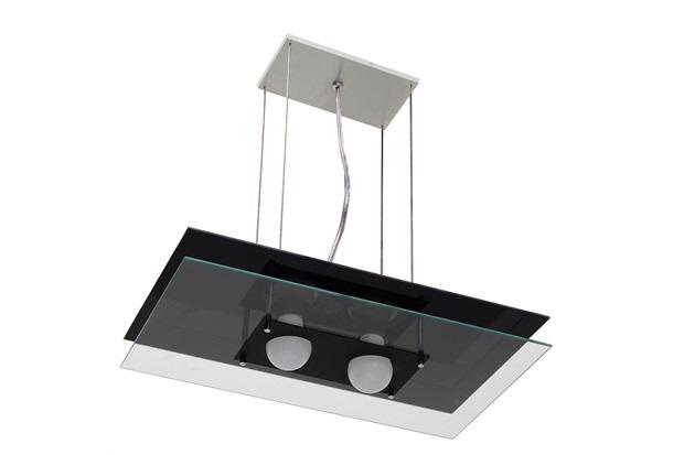 Pendente em Alumínio Retangular para 2 Lâmpadas Preto - Pantoja & Carmona