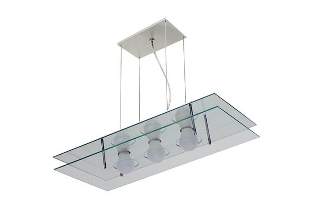 Pendente em Alumínio Retangular para 3 Lâmpadas Espelhado - Pantoja & Carmona