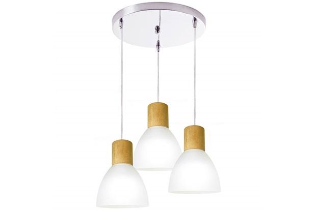 Pendente em Vidro para 3 Lâmpadas Anello Wood Branco - Startec