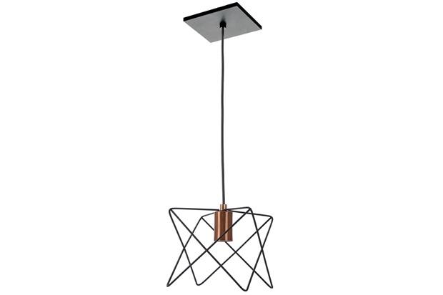 Pendente Quadrado Aramado em Alumínio para 1 Lâmpada 18x18cm Preto - Pantoja & Carmona