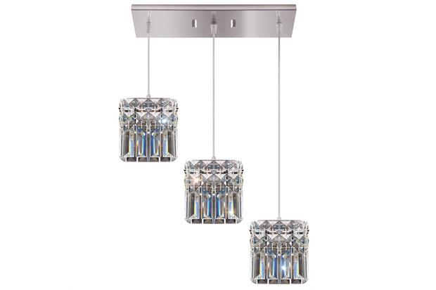 Pendente Quadrado para 3 Lâmpadas Paris 12x42cm Espelhado - Bronzearte