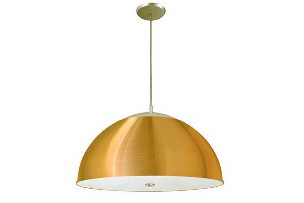 Pendente Redondo em Alumínio para 3 Lâmpadas 42cm Dourado - Pantoja & Carmona