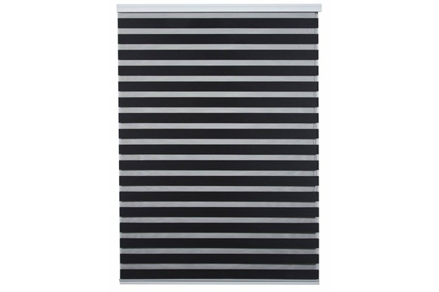 Persiana Rolo em Poliéster Estilo Zebra 120x160cm Preta - Top Rio