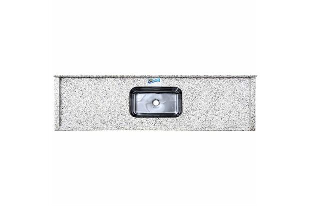 Pia de Granito com Cuba em Inox Elegance 200cm Branco Portinari - Venturini