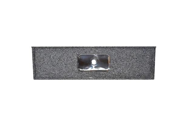Pia de Granito Luxo com Cuba em Inox 200x55cm Cinza Corumba - Bom Jesus