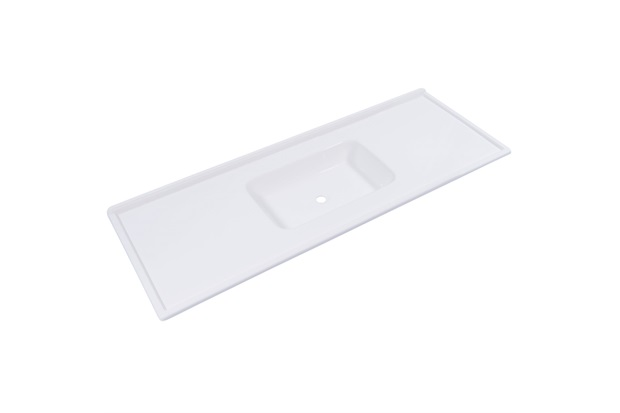 Pia em Mármore Sintético Premium 120cm Branca - Decoralita