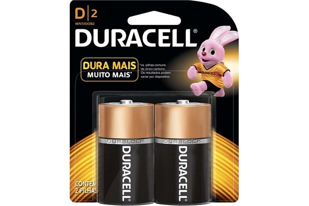 Pilha Alcalina D Básica 2 Peças - Duracell