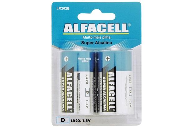 Pilha Grande Alcalina 1,5v com 2 Unidades - Alfacell
