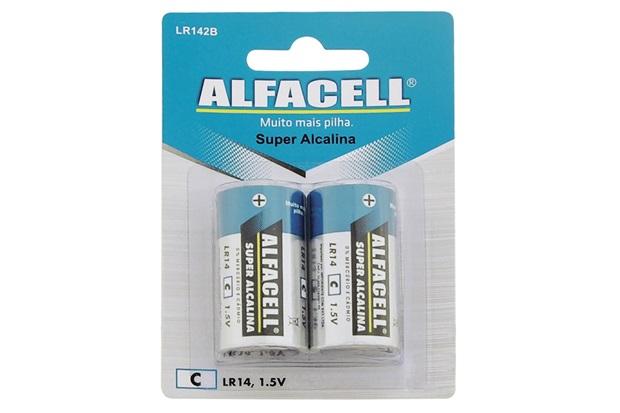 Pilha Média Alcalina 1,5v com 2 Unidades - Alfacell