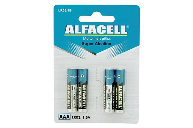 Pilha Palito Alcalina Aaa 1,5v 4 Unidades - Alfacell