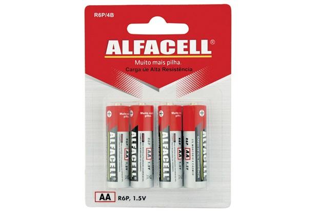 Pilha Pequena Aa 1,5v com 4 Unidades - Alfacell