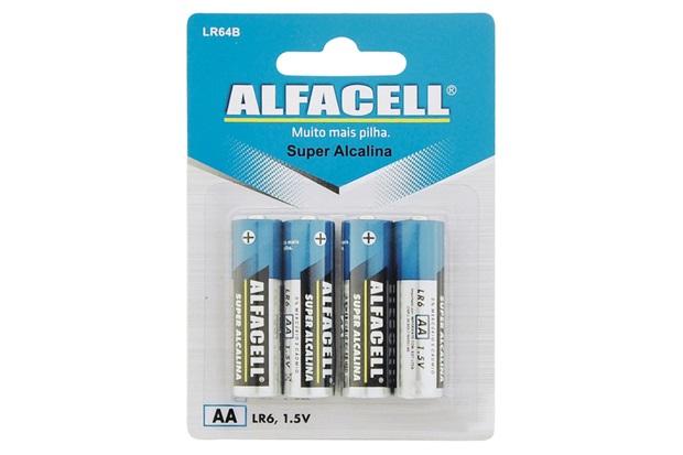 Pilha Pequena Alcalina Aa 1,5v com 4 Unidades - Alfacell
