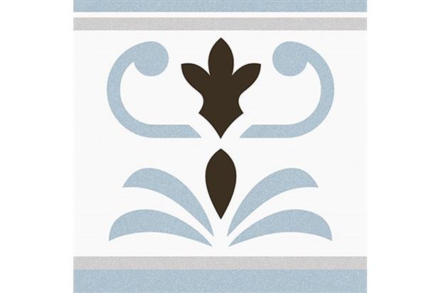 Piso Acetinado Boleado Branco E Azul 20x20cm - Colormix