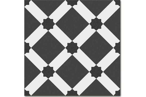 Piso Cerâmico Acetinado Borda Bold 1900 Palau Grafito Preto 20x20cm - Colormix