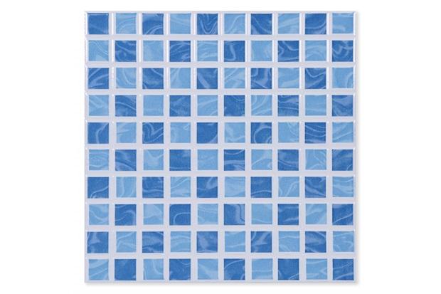 Piso Cerâmico Brilhante Borda Bold Aquarela Azul 25x25cm - Porto Ferreira