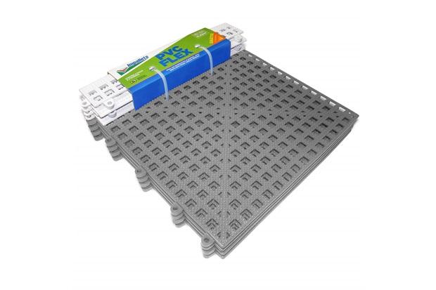 Piso Flexível Modular em Pvc Flex com Rampa 30x30cm Cinza com 4 Peças - Impallets
