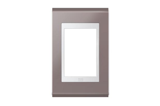 Placa 4''X2'' para 3 Módulos Refinatto Concept Champanhe E Branco - WEG